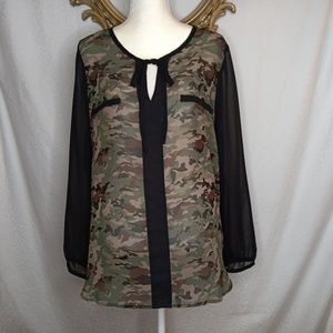 A.N.A Camo Sheer Blouse Sz XL